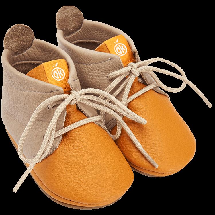 Lauflerner Barfußschuhe Schnürer hellbraun Orangenkinder