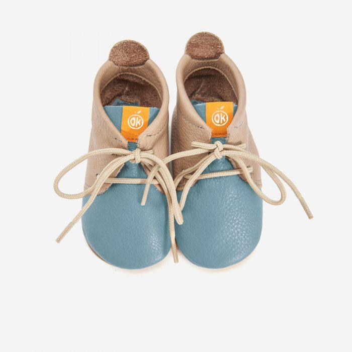 Lauflerner Barfußschuhe Schnürer hellblau Orangenkinder